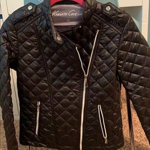 Kenneth Cole- XS Black motorcycle quilted jacket